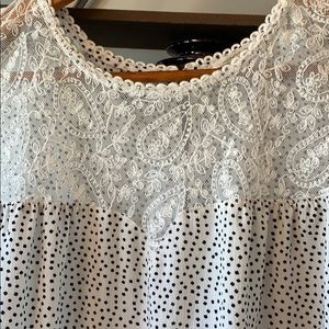 Tops - Polka Dot Lace Top size-L
